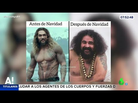 El Sevilla y Jason Momoa reflejan el antes y el después de las comidas de Navidad