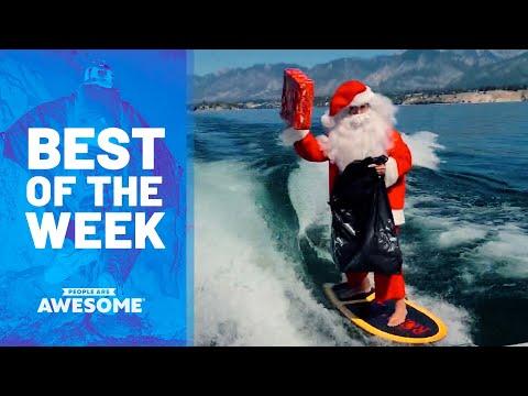 Base Jumping, Hoop Trick Shots on Skis, Surfing Santa & More! | Best of the Week