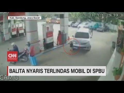 Viral Bocah Nyaris Terlindas Mobil di SPBU