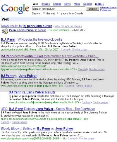 Google results for BJ Penn Jens Pulver