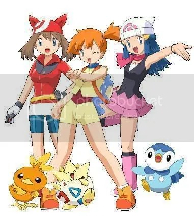 From left to right: May, Misty, Dawn. If you didnt know that, somethings wrong with you