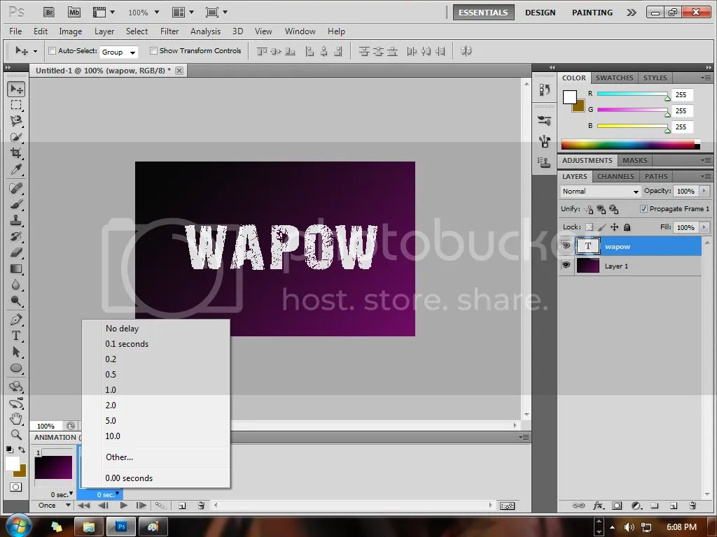 how to make moving text in photoshop