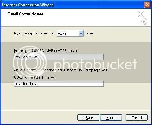 Hình 3: Nh�p các thông tin của Server