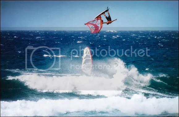 One handed tabletop, 1998, Robby Naish, Ho'okipa Beach Park, Maui, Hawaii taken by Sofie Louca, Amorphia Photography