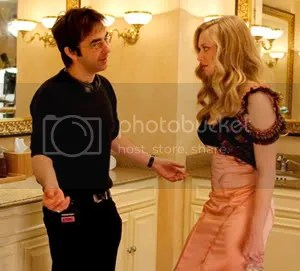 Director Atom Egoyan interacts with Amanda Seyfried who plays the title role in his new film Chloe.