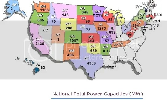Map showing Wind Capacities by State