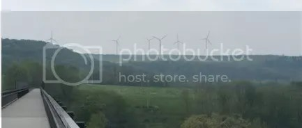 Wind turbines looking down on Meyersdale PA