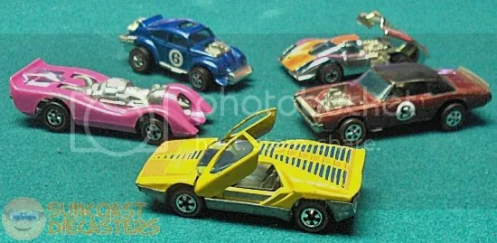 CW from middle left: Jet Threat; Evil Weevil; Porsche P-917; TNT Bird; Carabo. (The working 'scissor' doors on the Carabo are amazing. ~WM)