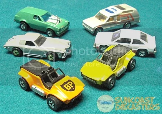 CW from bottom left: Sand Drifter; Stutz Blackhawk; Posion Pinto; Minitrek; Chevy Citation; Sand Drifter.