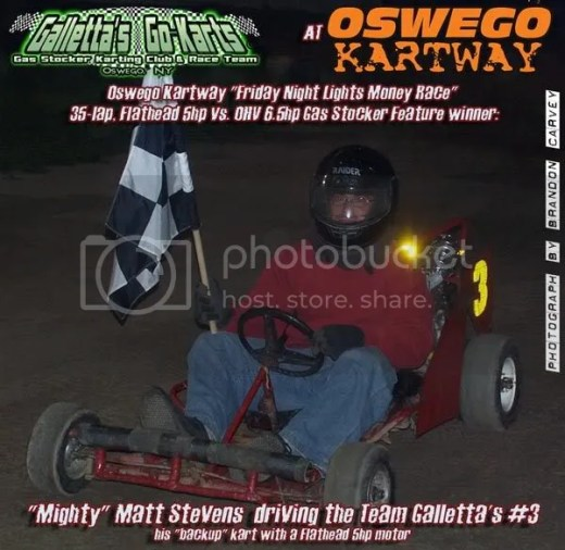 Matt Stevens wins a mixed motor (5hp-6.5hp gas stocker) money race at Oswego Speedway in his #3 Gas Stocker!