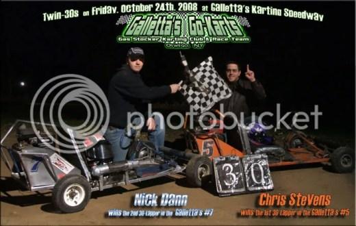 Nick Dann & Chris Stevens win the Twin 30s at Galletta's on 10/24/2008