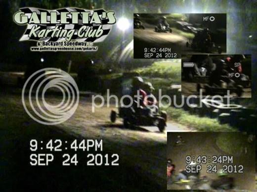 2012/09/24 racing action at Galletta's Backyard Karting Speedway!