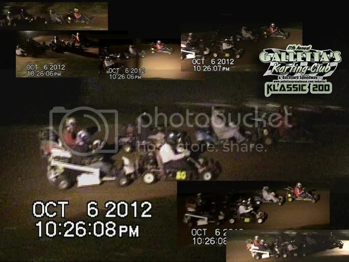 However, lapped traffic proved to be pivotal as ever. Kyle was trapped behind his old donated kart - the Galletta's #9 driven by Joe Buske - while trying to put the Galletta's #9 a lap down. At Galletta's, our outside groove is our quicker one, so since around 2008 or so, karts that see the passing flag are allowed to choose a line and hold it (no bobbing and weaving), and the quicker high line is preferred and welcome, as it makes things interesting when there is a bumper-to-bumper battle for the win. That's what was going on here! The battle was intense, with Randy Platt, Melissa Stevens, Chris Stevens, and Matt Stevens all tire-to-tire and bumper-to-bumper trying to use that traffic to take the lead. Melissa pulled out of a legitimate shot at the lead in the low groove, trapping Chris behind her, and Matt followed Randy Platt into the lead on lap 114. This would not be the last time that lapped traffic would alter the lead.