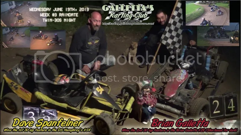 Oswego Karting 6/19/2013: Dave Spanfelner and Brian Galletta take the Mid-Week Twin Features!