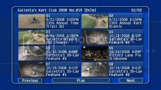 Oswego Dirt Karting 2008 Volume 19 DVD menu