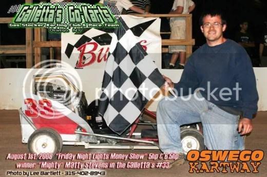Matt Stevens beats 6.5hp karts in his 5hp kart at Oswego Speedway on August 1st, 2008!