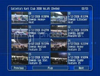 Oswego Dirt Karting 2008 Volume 5 menu 2