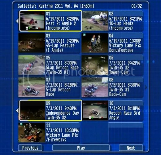 DVD Menu to Volume 3 of Galletta's 2011 Karting collection!