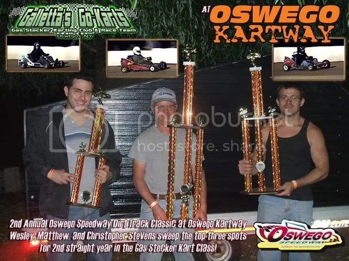 Chris, Wes, and Matt Stevens sweep the top 3 at the Oswego Kartway 2008 Gas Stocker Classic (again)!