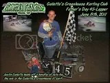 Justin Galletta takes the #7 kart into victory lane at Galletta's Greenhouse Backyard Karting Speedway on 6/19/2011's Father's Day 45!
