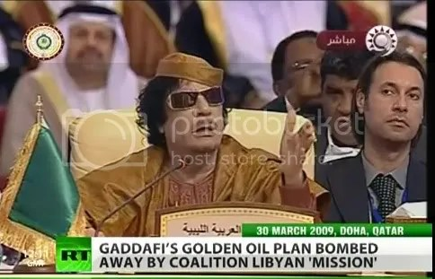 Moammar  and Mutassim Gadhafi, secretary of State at Arab league Conferene