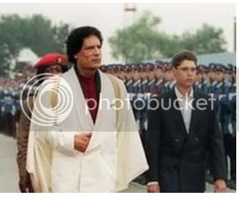 Muammar al-Gadhafi with young son, Saif al-Islam al-Gadhafi