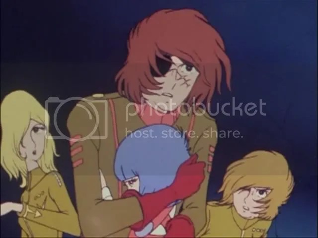 Harlock cant keep his hands off the lolis!