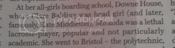 Text from Radio Times, including line 'where Clare Balding was head girl (and later, Kate Middleton)'