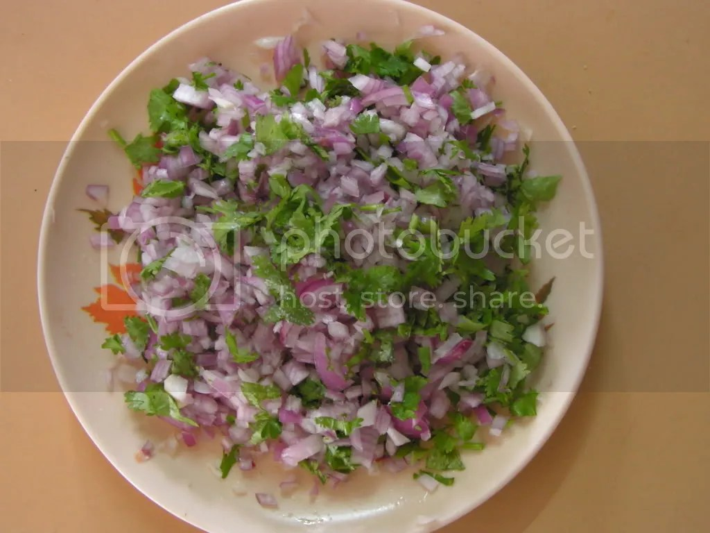 Finely chopped onion & corriander leaves