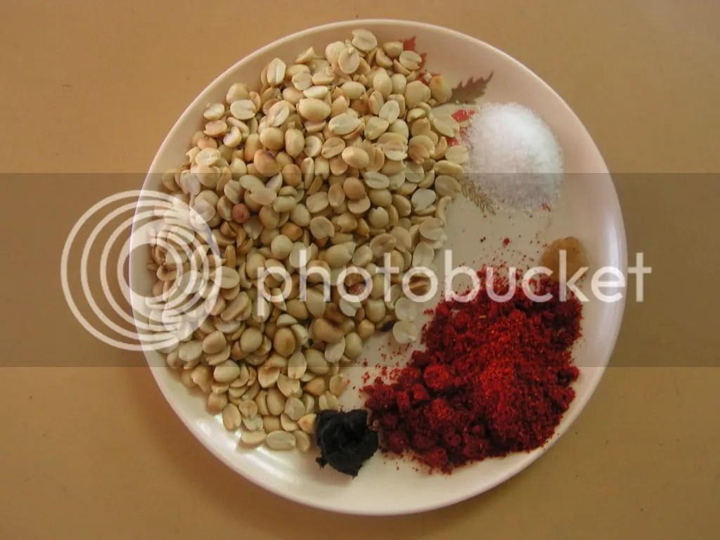 Ingredients of peanut chutney powder