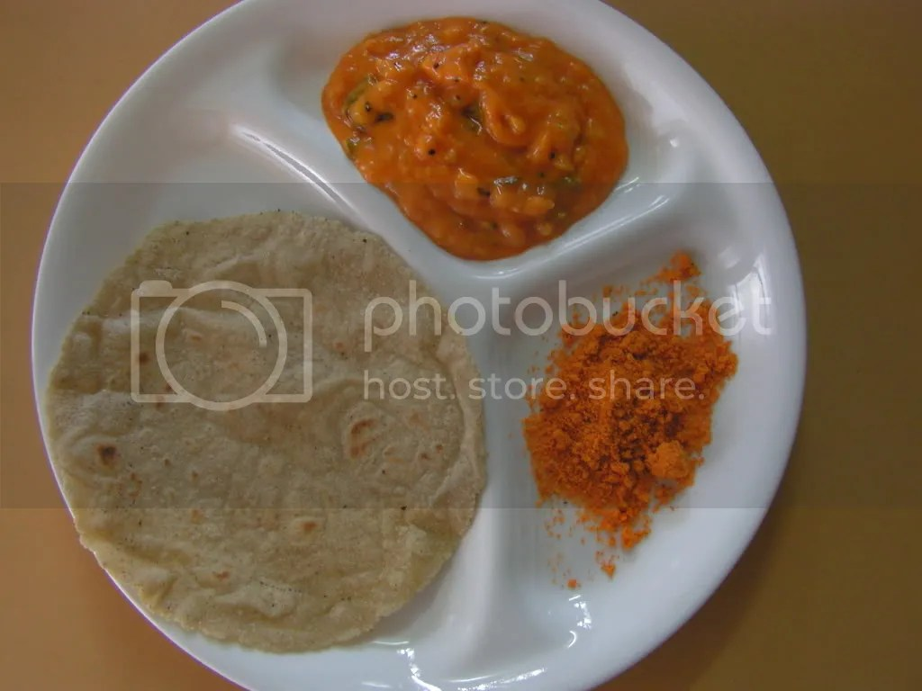 Jwari Rotti with Jhunka & chutney powder