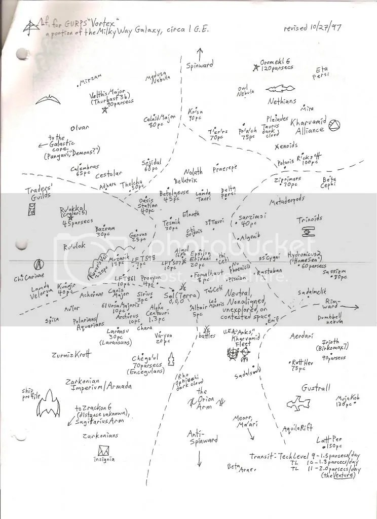 "Star map for GURPS ""Vortex"" space opera"