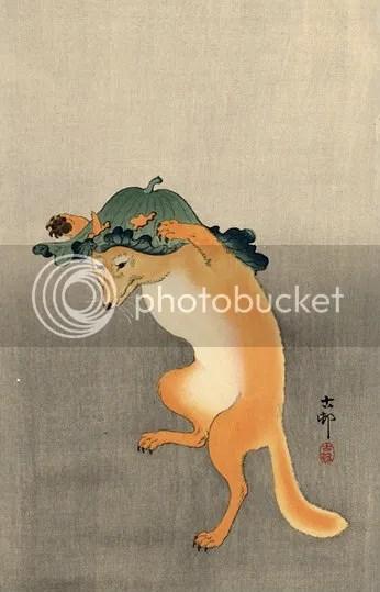 Dancing Fox by Ohara Koson