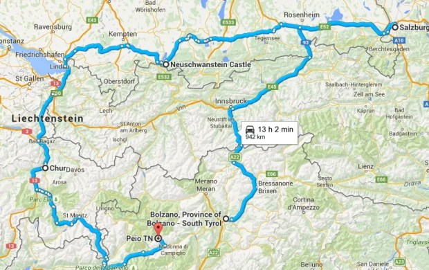 European road trip St Moritz Salzburg