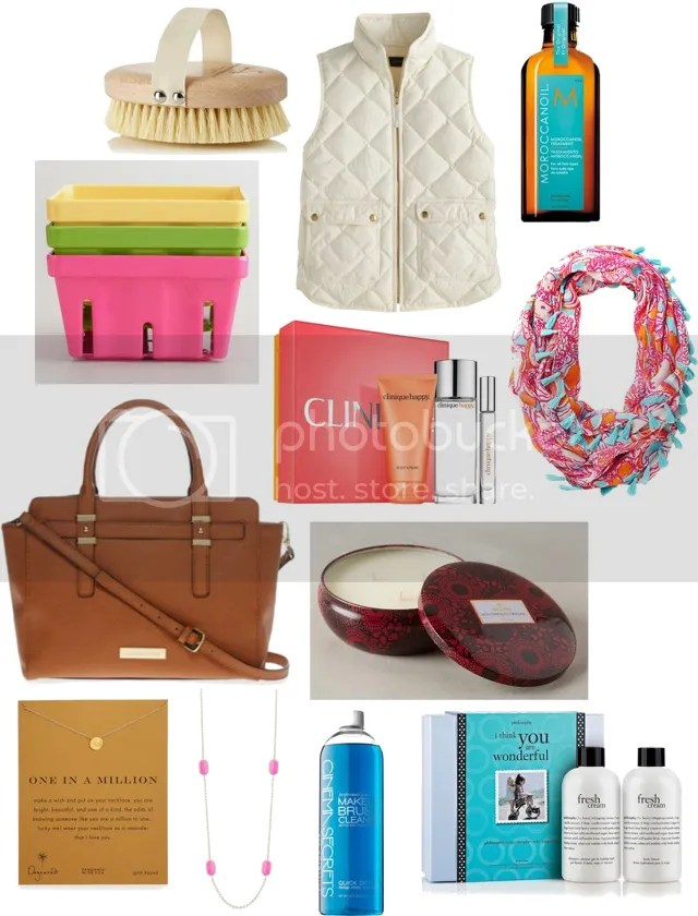 MOTHER'S DAY GIFT GUIDE by Fashion in Flight AROMATHERAPY ASSOCIATES POLISHING BODY BRUSH / J. CREW VEST / MOROCCANOIL TREATMENT / WORLD MARKET BERRY BASKETS / CLINIQUE PERFECTLY HAPPY SET / LILY PULITZER TASSLE INFINITY SCARF / LIZ CLAIBORNE SATCHEL / VOLUSPA CANDLE TIN / DOGEARED NECKLACE / KENDRA SCOTT NECKLACE / CINEMA SECRETS MAKE UP BRUSH CLEANER / PHILOSOPHY GIFT SET