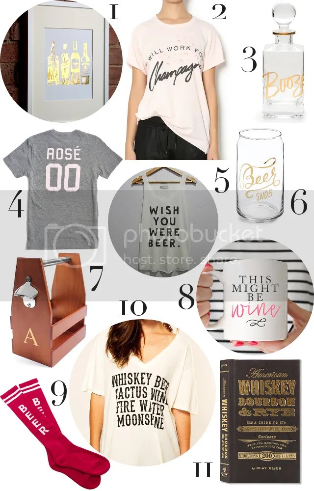 GIFT GUIDE: THE CLASSY DRINKER by Fashion in Flight 1. I SEE NOISE print / 2. HEIRESS BOUTIQUE t-shirt / 3. ROSANNA decanter / 4. YES WAY ROSÉ t-shirt / 5. WOWAFTER tank / 6. EASY TIGER glass / 7. CATHY'S CONCEPTS craft beer holder / 8. FOX & CLOVER BOUTIQUE mug / 9. BUNNY HARE'S socks / 10. POST & NICKLE t-shirt / 11. CLAY RISEN book
