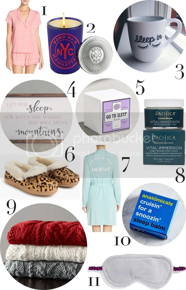 GIFT GUIDE: THE OVER-SLEEPER by Fashion in Flight 1. EBERJAY pajama set / 2. BOND NO. 9 candle / 3. GOOD MUGS MONOGRAMS mug / 4. SK WOOD DESIGNS sign / 5. JANE bath cube / 6. J. CREW slippers / 7. GOOD HYOUMAN robe / 8. ANATOMICALS sleep balm / 9. POTTERY BARN blankets / 10. PACIFICA night mask / 11. SONOMA LAVENDER sleep mask