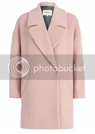 river island light pink oversized boucle coat blush