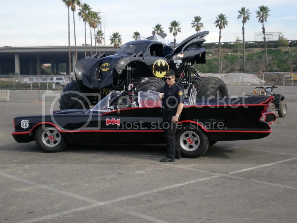batmobile and monster truck