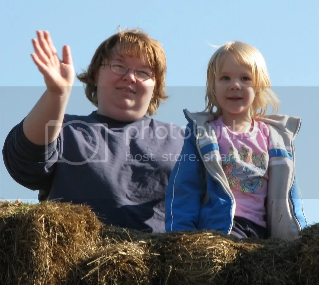 Emmy & I on top of the world (or hay maze)