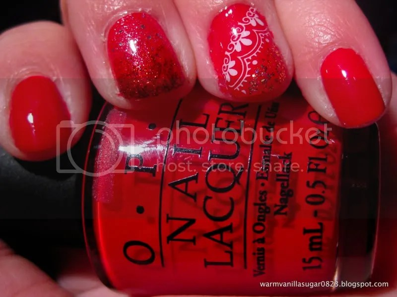 OPI Color So Hot It Berns,Valentine's Day manicure,Konad,warmvanillasugar0823