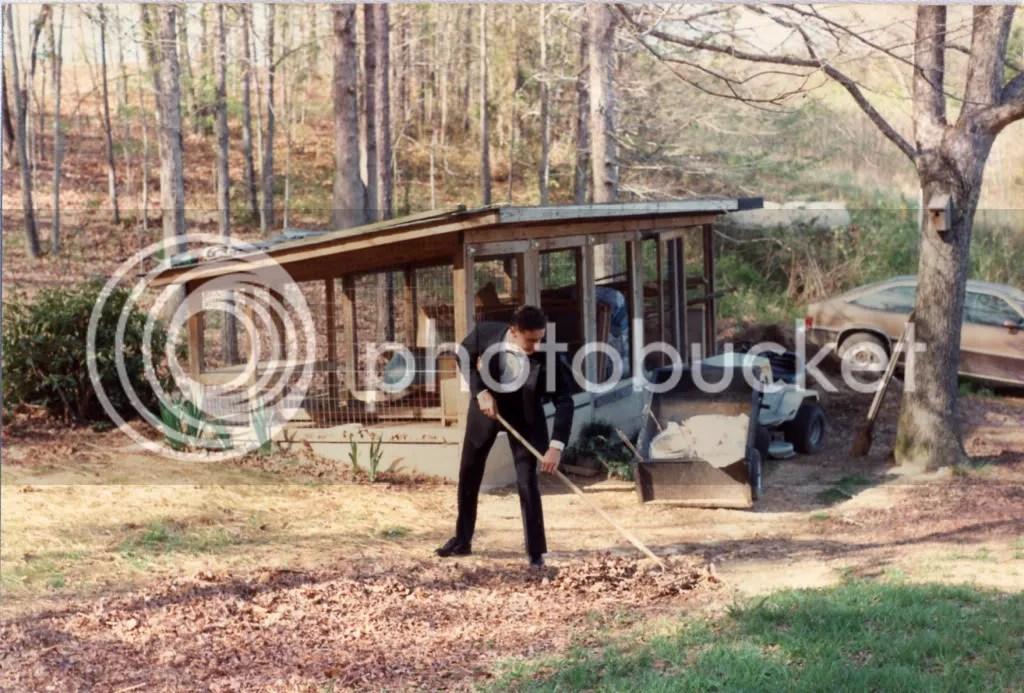 Jason doing yard work before prom