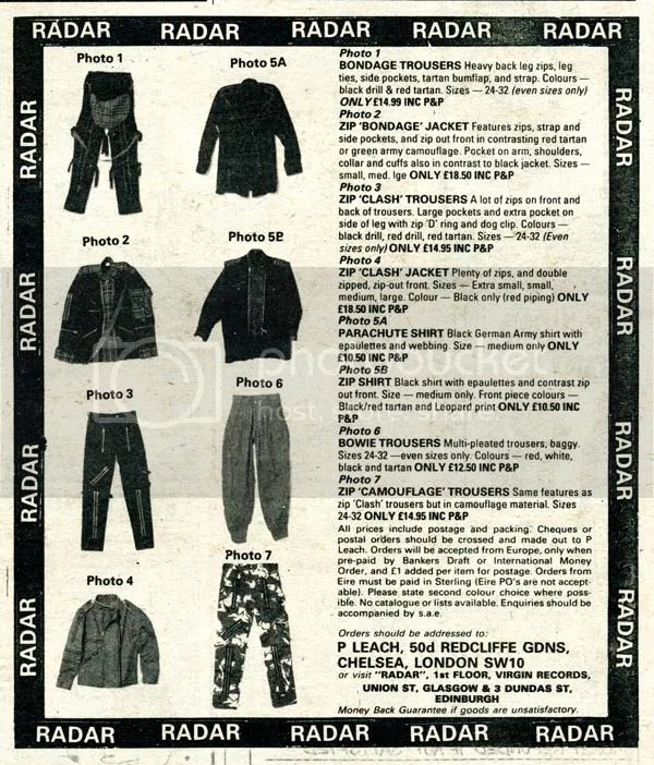 Image result for 1970s punk clothing advert nme