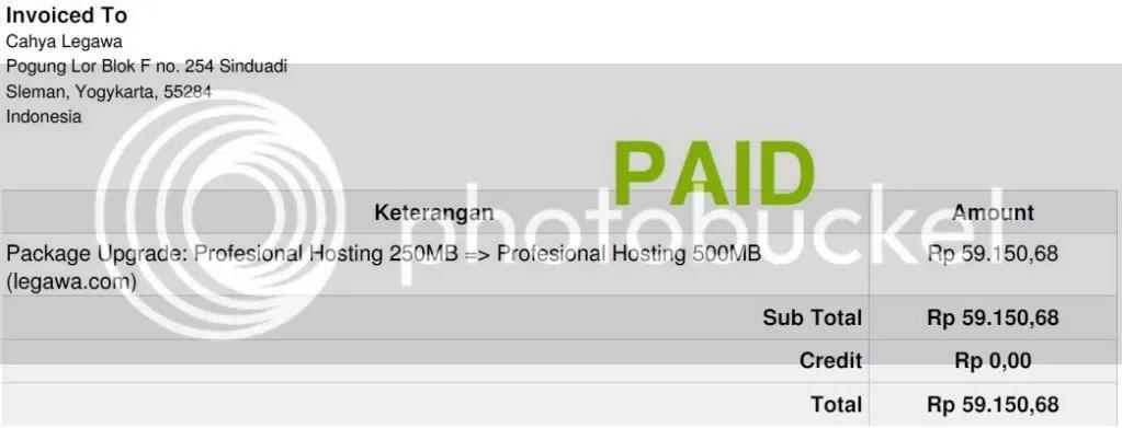 Upgrade Paket Hosting