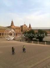 Plaza de España al atardecer.