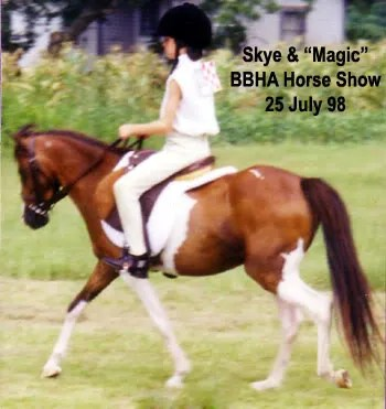 Skye riding Magic at a local horse show - 1998