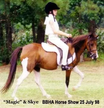 Skye riding Magic english at a local open horse show - 1998