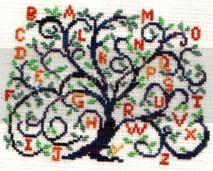 AMAP freebie Alphabet tree stitched on HDF 35 ct linen 1x1 using HDF silks