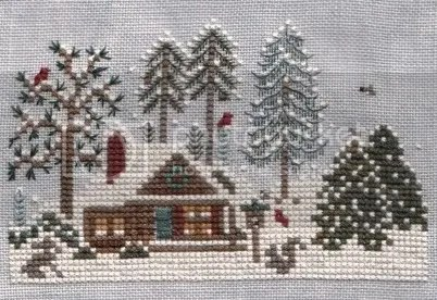 jingle bells christmas tree farm sampler wip by Victoria sampler