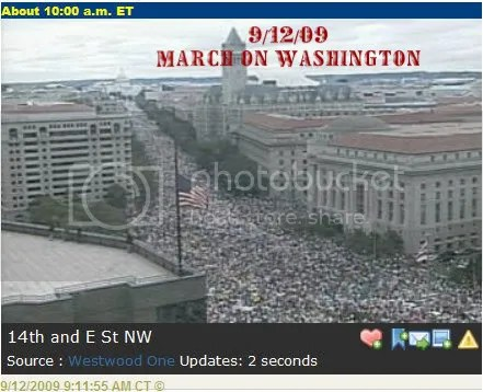 9/12/2009 - Conservative & Libertarian March on Washington Grassroots Protest.  Estimates are running from 100s of thousands up to 2 million.  They had to close down Pennsylvania avenue just to accomodate people trying to get to the mall.  The link will take you to coverage at NBC - video & print.